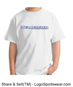 Boys (Youth) White T- Shirt (Sea Leveler Sport Fishing Charters) Design Zoom