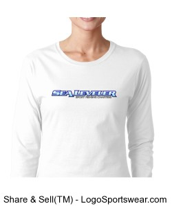 Womens White Junior Fit Long Sleeve T-Shirt (Sea Leveler Sport Fishing Charters) Design Zoom
